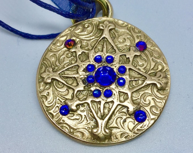 B407 Bronze pendant with Meridian blue crystals, charm, handmade, Deep blue silk multi strand cord,