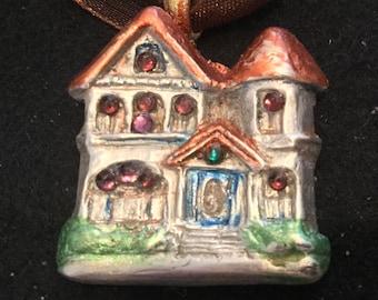 S220 SILVER .999 SILVER Victorian house, gift teens or mom, handmade, 11 Swarovski Crystals brown multi strand silk cord