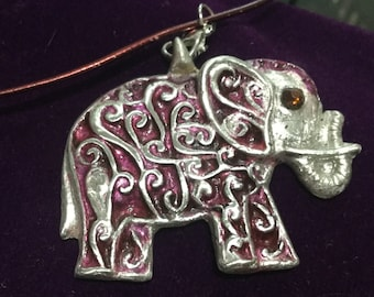 SE11 Pure Silver large  elephant  with cubic zirconia in ruby for eye, handmade, wine color leather necklace 18""