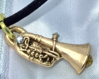 "B409B Bronze trumpet with gem stones, , handmade, black velvet necklace 18"", rose bronze"
