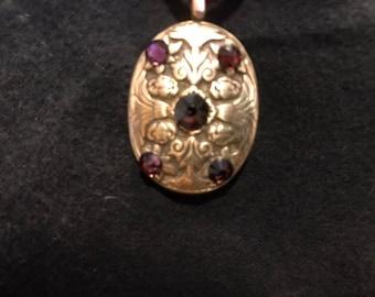 B12. Bronze pendant, handmade, deep amathyst gems, deep wine color velvet cord