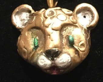 "CF020 Head of a leopard, enhanced with jewelers dye, handmade of bronze, bronze 18"" snake chain"