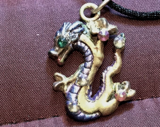 "Christmas, B29 Bronze Small Dragon, golden, handmade, 18"" black silk cord, purple & green iridescent jeweler's dye, Swarovski Crystal"