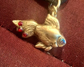 """B200  Bronze little fish, handmade necklace, Swarovski Crystal for his eye, and on tail, 18"""" black suede necklace"""