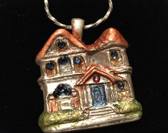 S227 SILVER .999 SILVER Victorian house, gift teens or mom, handmade, 11 Swarovski Crystals, sterling silver chain