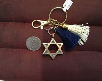 BB24 Keychain  Jewish Star key chain, perfect gift, Bronze, for new driver, graduate , clasp for bag, split ring for keys, tassel