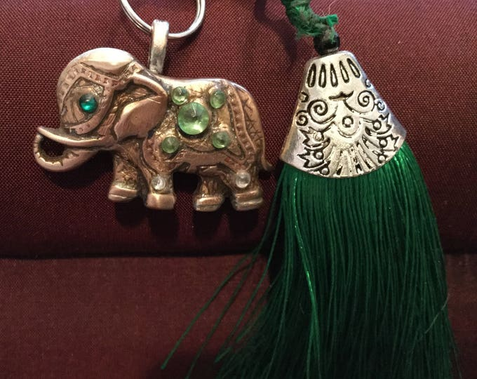 BB61 Keychain Elephant keychain, handmade, copper, crystals,  good luck, lobster claw to attach to purse, split ring for keys
