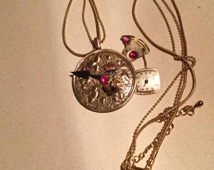 B70 STEAMPUNK Pendant, handmade, butterfies, pure bronze, hands of clock/watch, dangling watch face, watch parts, gems, signed