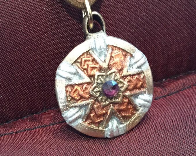 B79 Pendant in intricate pattern, perfect gift, BRONZE,  Swarovski Crystal, enameling, heraldic shield design, Brown suede cord
