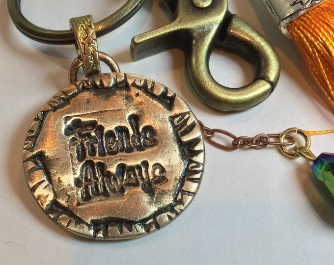 BB1 Keychain  Pendant Says Friends Always, perfect gift, Bronze, Swarovski  Crystal , clasp for bag, split ring for keys, tassel