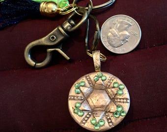 BB22 Keychain  Brilliant bronze charm, 18 Swarovski Crystals , clasp for bag, split ring fo r keys, navy and green tassels