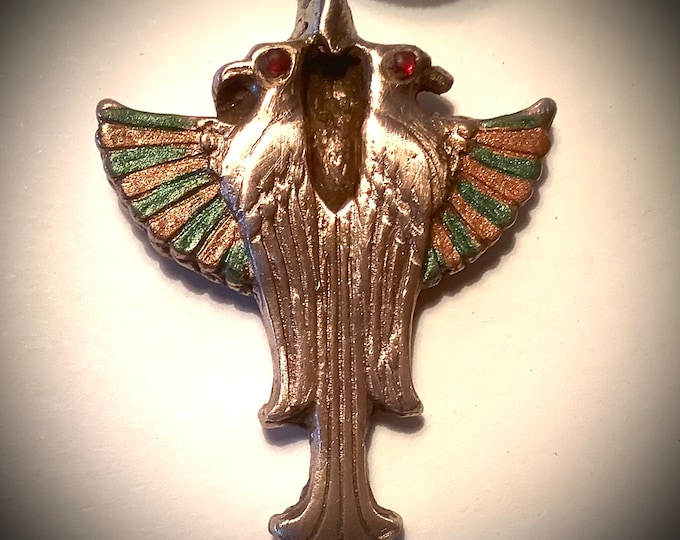 11/20/2  Bronze pendant, Egyptian deity representing healing and caring, brilliant bronze with jewelers dye colors, all handmade