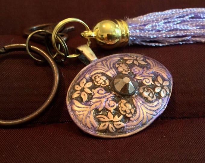 BB21 Keychain  Brilliant copper charm, with smokey topaz Swarovski Crystal , clasp  for bag, split ring for  keys, Pale violet tassels
