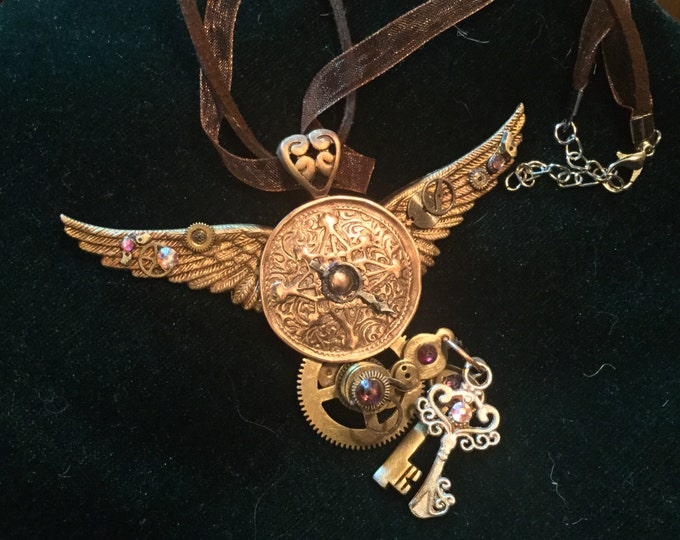 C100. SPECIAL ORDER Large Steampunk steampunk Copper, silver,  handmade, original, special order only, silk cord necklace, steampunk gift