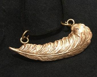 "CF003 Bronze feather, handmade, 20"" black suede cord"
