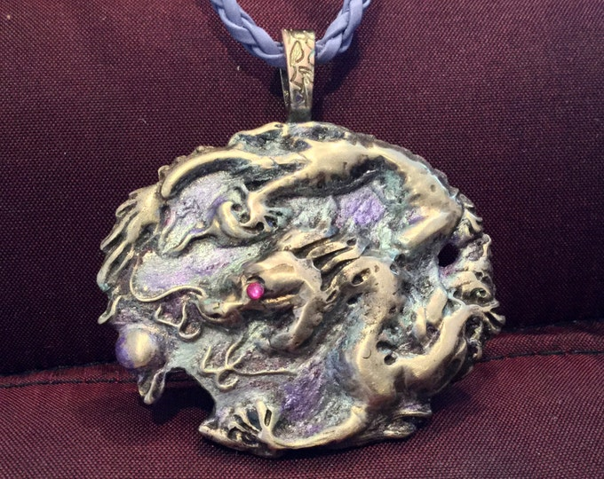 B125 Celestial Dragon with pearl, large, good luck, charm, Lt purple braided leather cord necklace, handmade, signed by artist