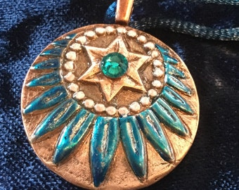 C42 pure copper pendant, the American Indian design, charm, Swarovski Crystal, blue silk cord necklace, handmade