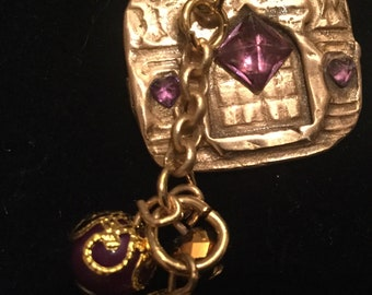 """B419 Bronze Moorish wooden doors from the 16th century, dangling jewels,   diamond shaped amethyst, 18"""" black suede necklace"""