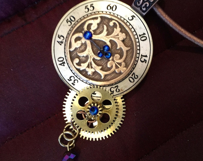 B69 STEAMPUNK Bronze OPTIONAL Free brass stand, this piece has actual clock face (numerals) plus cogs and wheels