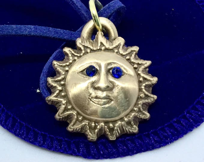 B406 Sun face, handsome fellow made of pure bronze, perf gift teens or mom, handmade, cubic zirconium sapphire (manmade), blue suede cord