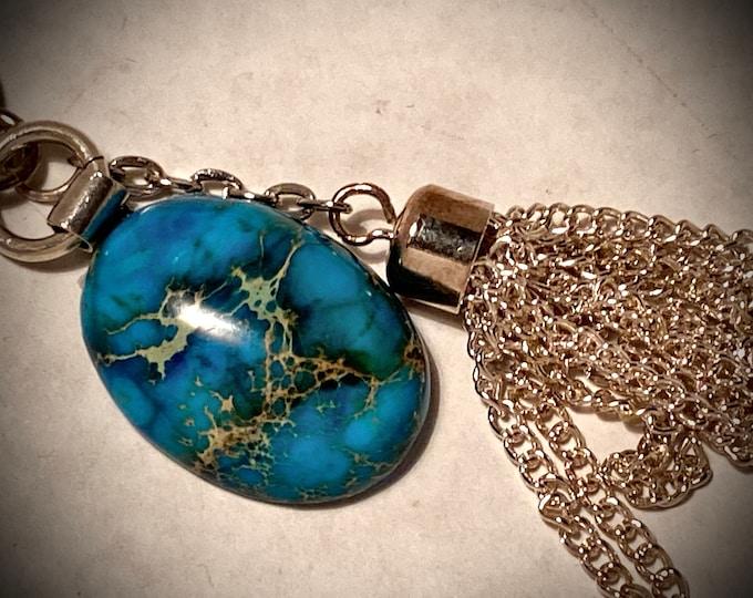 ST07 SPECIAL Blue Moss Agate semi precious stone, handmade silver bail encircling stone (part hangs stone), silver tassel and silver chain
