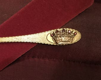 B212 Bronze letter opener, crown with gems, handmade, mounted on gold  color letter opener with red flocked sheath