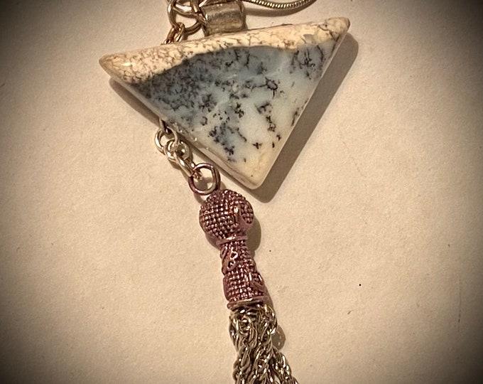 ST03  SPECIAL Dendrite Agate semi precious stone, handmade silver bail (part that hangs stone), silver tassel, sterling silver chain