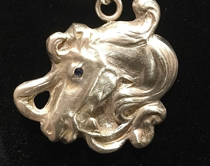 CF067 Horse head with flowing mane, stunning design, handmade, cubic zirconia