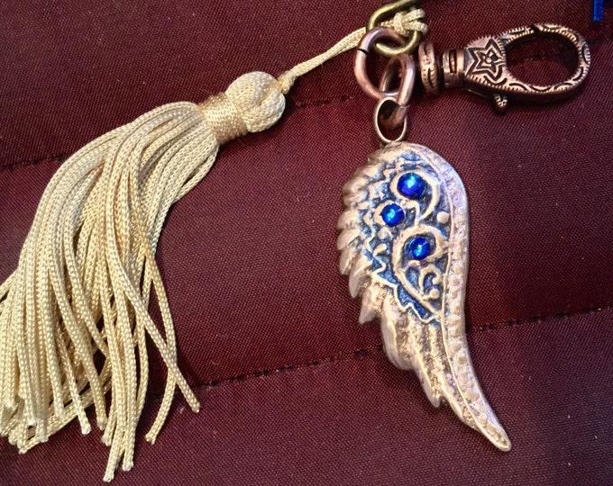Celestial BB6  Keychain  ANGEL  Wing , Bronze and Jeweler's Dye, Meridian Swarovski  Crystal , clasp for bag, split ring  for keys, tassel