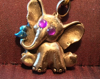 B143  Buy an Elephant - Save an Elephant!  See text Bronze elephant & bluebird, handmade, Swarovski Crystals, silk cord necklace