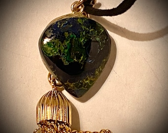 ST04 SPECIAL Moss Agate semi precious stone, handmade bronze bail with leaf cutout (part that hangs stone), brass tassel, black velvet cord