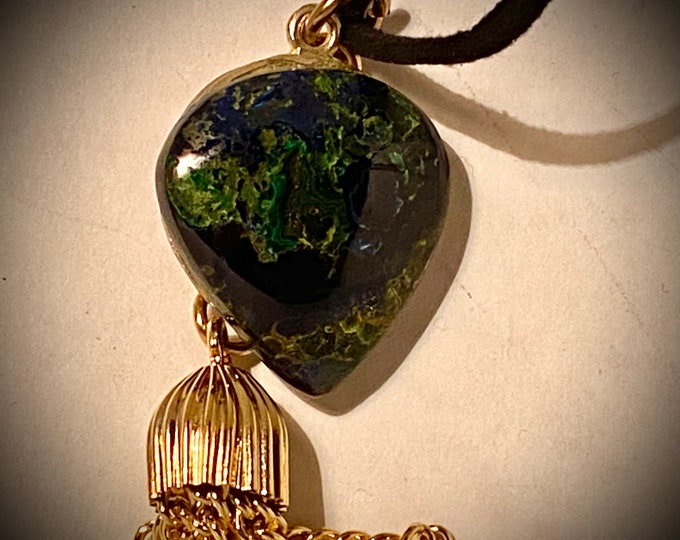 ST04 SPECIAL Moss Agate semi precious stone, handmade bronze bail with leaf cutout (part that hangs stone), brass tassel, black velvet cord