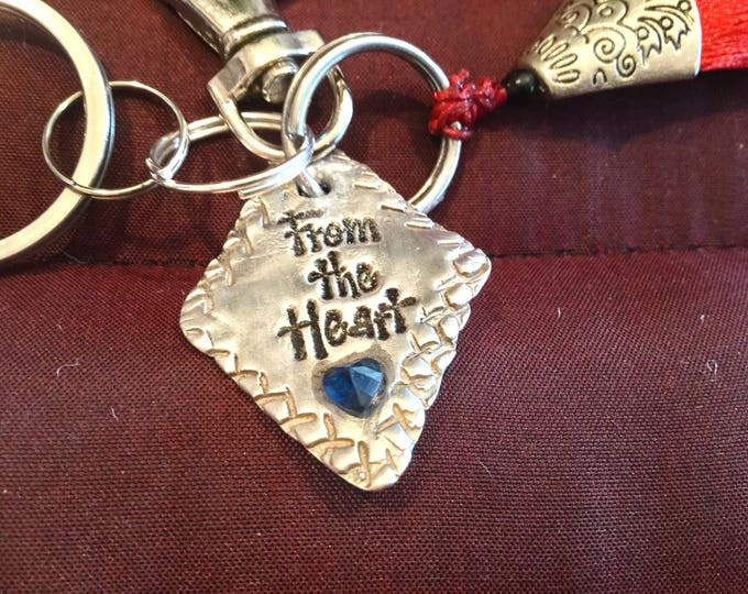 """BB11 Keychain  Pendant Says """"From the Heart"""" in pure silver with heart shape Swarovski Crystal, clasp for bag, ring for keys"""