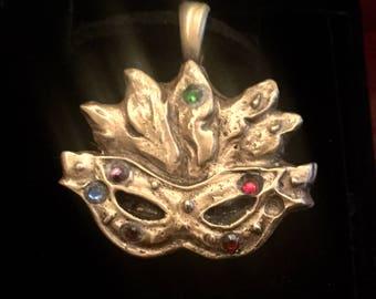 B204  pure bronze, Mardi Gras mask, perf gift for teens or mom, handmade, Swarovski  Crystal, black suede cord