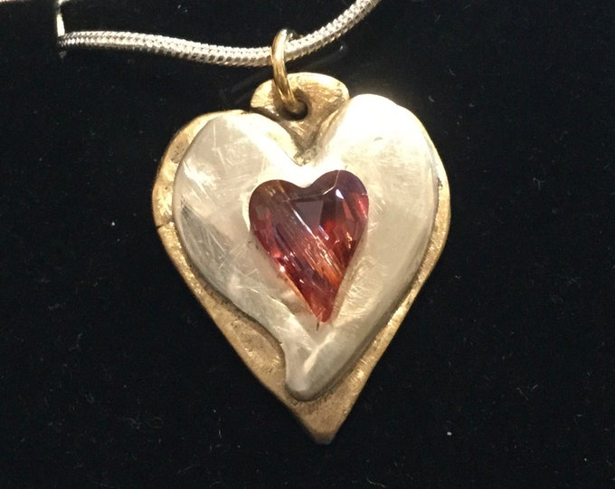 CF086 Silver Heart with Large gem heart, on Heart-shaped base of bronze , heavy silver chain