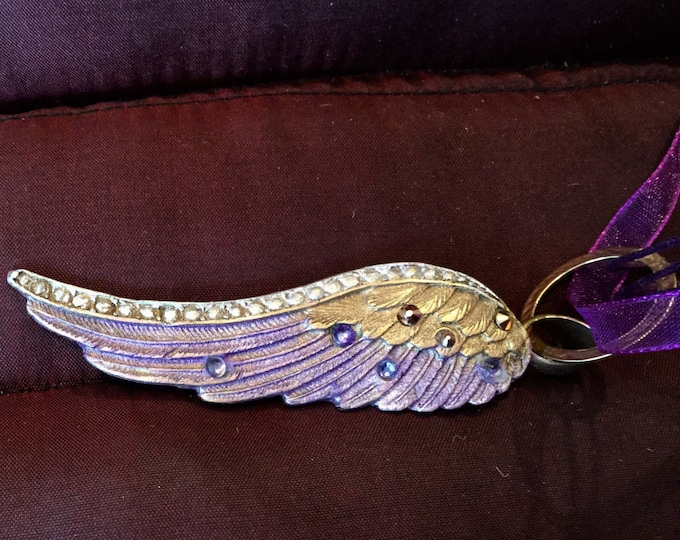 Heavenly celestial  B113  Bronze Angel Wing with purple and lavender jeweler's dye, 7 Swarovski Crystals ,  handmade