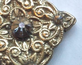 B102 Bronze pendant, with  5 smokes topaz, black silk cord necklace, handmade, original