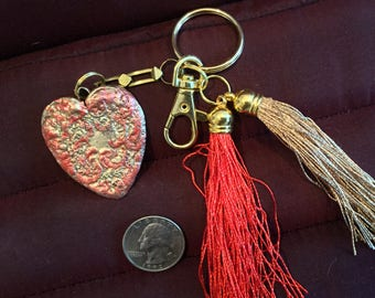 BB23 Keychain, large bronze and enamel HEART Keychain,  perfect gift,  Key holder, clasp for bag, split ring for keys, red and gold tassel