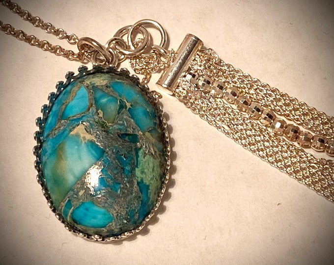 ST06 SPECIAL Blue Moss Agate semi precious stone, handmade silver bail encircling stone (part hangs stone), silver tassel and silver chain