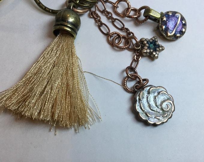 "BB3 Keychain ""Heavens"" - planet, star, cloud, sci-fi, Bronze, Swarovski  Crystal , clasp for bag, split ring for keys, tassel"