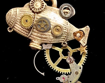 CF044 STEAMPUNK  pendant, bronze, handmade, delicate etched watch parts, gems, dangling watch cogs, bronze link chain