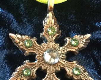 C48   Delicate snowflake made funky, handmade from pure copper, charm, artisan signed, gems, Lime green silk cord necklace