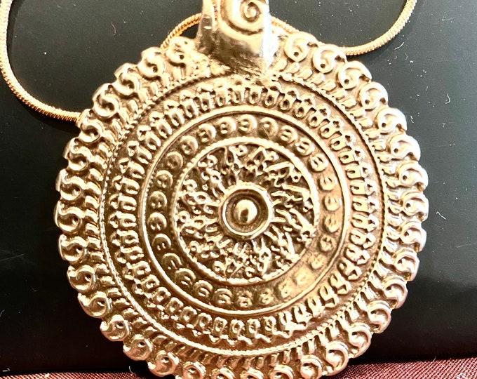 B20. Bronze medallion intricate design, handmade , hand carved, on bronze snake chain