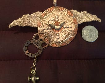 B140  Large Steampunk bronze,  handmade, original, silk cord necklace, steampunk gift , real watch parts, 2 colors of bronze
