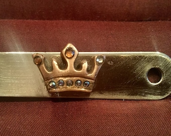B212 Bronze letter opener, crown with gems, handmade, mounted on silver color letter opener with leather sheath