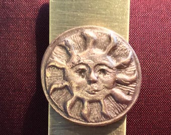 B151  Bookmark or MONEY CLIP or Clip for papers, for dad or that special fellow, Sun handmade of bronze,  on a stainless steel money clip