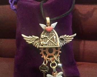B205 Large Steampunk bronze,  handmade, original, suede cord, angel wings , real watch parts, 2 colors of bronze