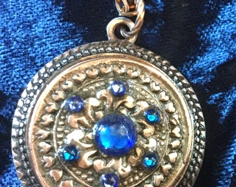 C39 Pendant in intricate hearts and flower pattern, perfect gift, Swarovski  Crystal,  silk cord necklace