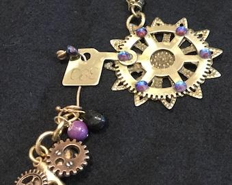 CF033 Large STEAMPUNK pendant, fantasy, dragonfly, bronze, cogs , wheels, watch parts, dangling gems, Swarovski Crystals,  dk bronze chain