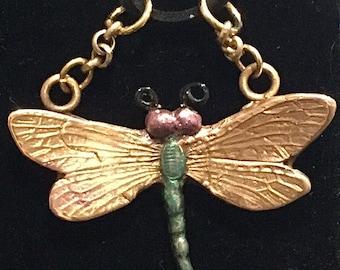 """B300 Bronze dragonfly handmade, black velvet necklace 20"""", rose bronze"""